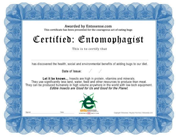 Entomophagist Certificate Logo
